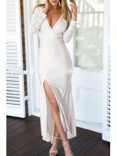 Plunging Neck Long Sleeves Lace Spliced Side Slit Dress - White Xl