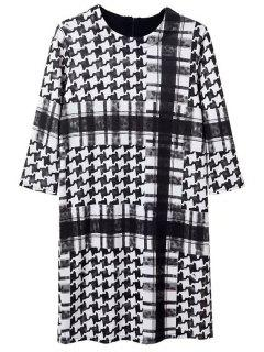 Houndstooth Round Neck 3/4 Sleeve Dress - White And Black M