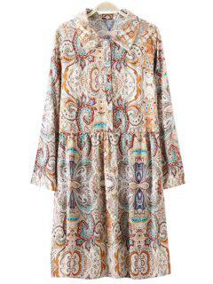 Retro Print Turn Down Collar Long Sleeve Dress - M