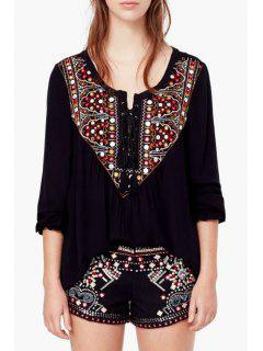 Long Sleeve Embroidered Blouse - Black S