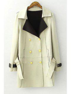 Lapel Double-Breasted Trench Coat - Light Green L