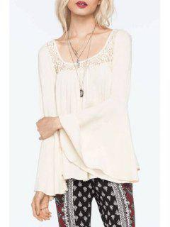Lace Spliced Long Sleeve Backless Blouse - White Xl