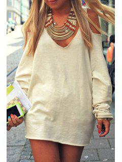 Cut Out V Neck Long Sleeve Dress - Off-white S