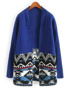 Ethnic Pattern Long Sleeve Cardigan - Blue