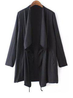 Black Turn Down Collar Long Sleeve Trench Coat - Black S