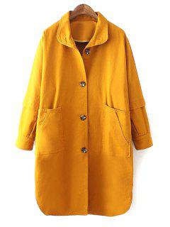 Yellow Turn Down Collar Long Sleeve Trench Coat - Yellow L