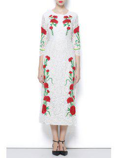 3/4 Sleeve Embroidered Lace Dress - White M