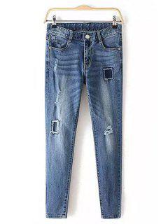 Broken Hole Pencil Jeans - Blue L