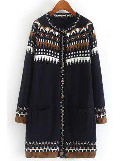 Long Sleeve Jacquard Long Cardigan - Purplish Blue