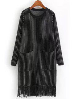 Two Pockets Tassels Sweater Dress - Black