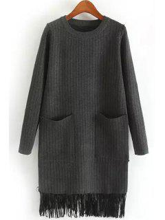Two Pockets Tassels Sweater Dress - Deep Gray