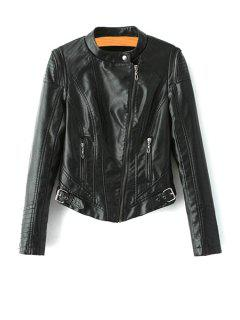 Black PU Leather Stand Collar Jacket - Black S