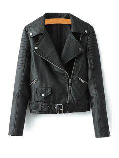 Faux Leather Belt Lapel Jacket - Black M