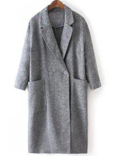 Lapel Big Pockets Trench Coat - Gray L