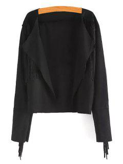 Tassels Spliced Turn Down Collar Coat - Black M