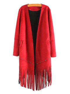 Long Sleeve Tassels Solid Color Coat - Red S