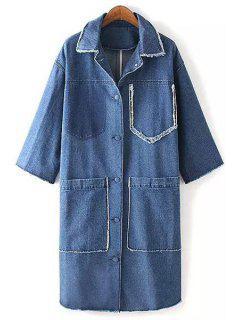 Big Pockets Frayed Denim Coat - Blue L