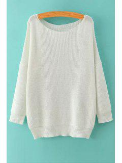 Pure Color Long Sleeve Pullover Sweater - White L