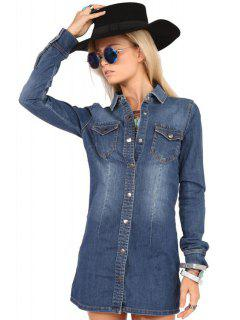 Pocket Denim Flat Collar Long Sleeves Shirt Dress - Blue Xs