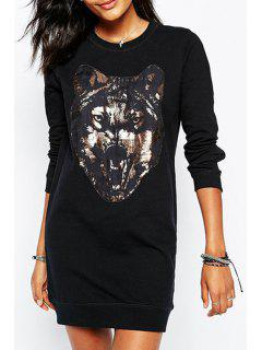 Wolf Print Round Collar Long Sleeves Sweatshirt - Black 2xl