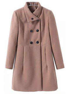 Funnel Collar Double-Breasted Wool Coat - Khaki M