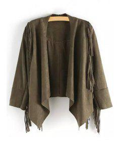Open Front Tassels Suede Jacket - Army Green M