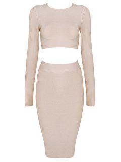 Long Sleeve Crop Top And Bodycon Skirt Suit - Nude S