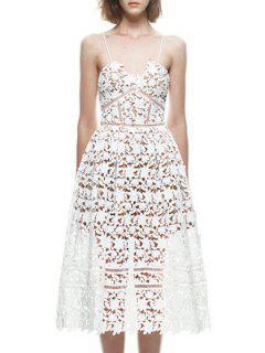 Lace Cami Solid Color A Line Dress - White S