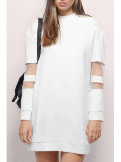 Voile Splicing Round Collar Long Sleeves Sweatshirt Dress - White L