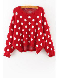 Batwing Sleeve Polka Dot Jumper - Red