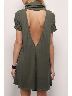 Backless Heaps Collar Short Sleeves Solid Color Dress - Deep Green S