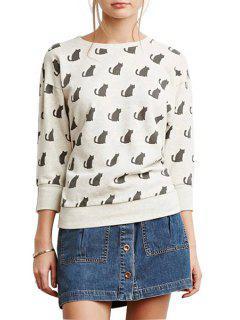 Cartoon Cat Print Round Collar Long Sleeves Sweatshirt - White 2xl
