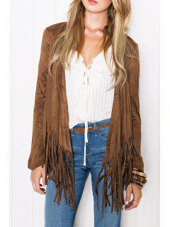 Pure Color Tassels Long Sleeve Coat - Brown M