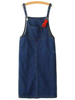 Packet Buttocks Denim Suspender Skirt - Blue Xs