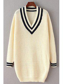 Loose-Fitting V-Neck Long Sleeves Sweater Dress - Off-white