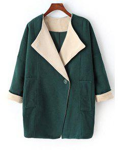 Pure Color Turn-Down Collar Big Pocket Coat - Green M