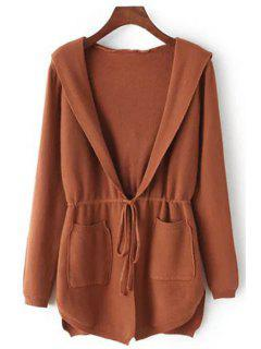 Pure Color Hooded Collar Long Sleeves Waisted Cardigan - Khaki