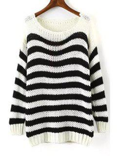 Long Sleeve Stripe Jumper - White And Black