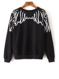 Long Sleeve Wing Print Sweatshirt - Black M