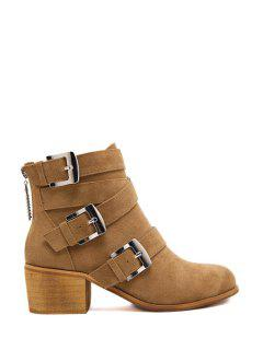 Cross Straps Buckles Suede Ankle Boots - Camel 35