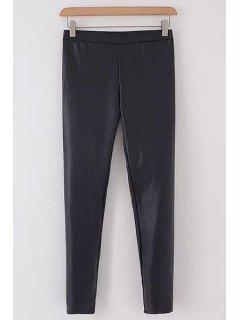 PU Leather Solid Color Slimming Narrow Feet Pants - Black Xl