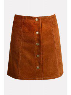 Solid Color High Waisted Corduroy Skirt - Orange L