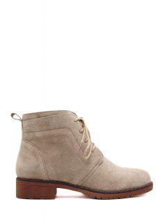 Lace-Up Solid Color Suede Combat Boots - Apricot 38