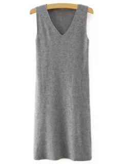 Sleeveless Pure Color V-Neck Knitted Sweater Dress - Gray M
