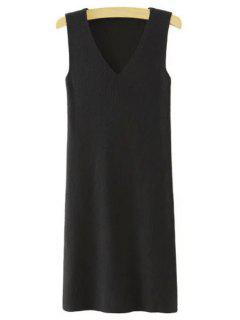 Sleeveless Pure Color V-Neck Knitted Sweater Dress - Black M