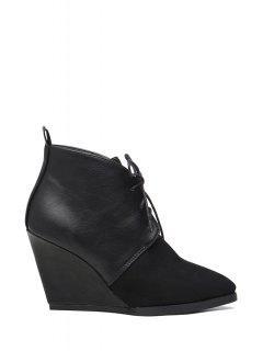 Wedge Heel Lace-Up Splice Short Boots - Black 38
