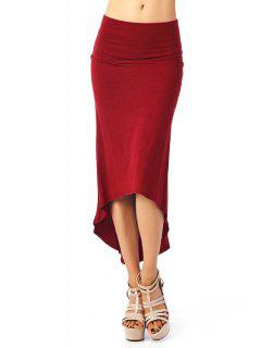 Packet Buttocks Solid Color Dovetail Skirt - Wine Red Xl