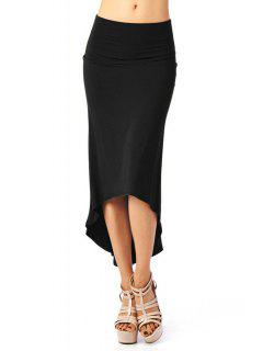 Packet Buttocks Solid Color Dovetail Skirt - Black Xl