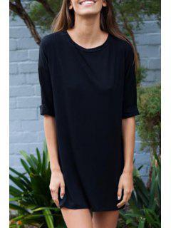 Half Sleeve Solid Color Straight Dress - Black M