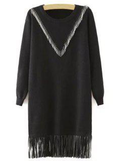 Fringes Spliced Long Sleeves Black Sweater Dress - Black L